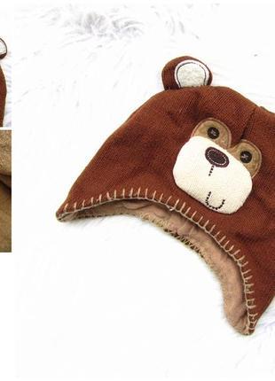 Стильная теплая шапка с ушками tu