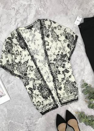 Шелковый кардиган в черно-белый принт  cg1904019 new look