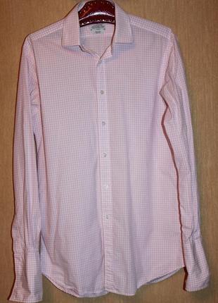 Стильная рубашка в бело-розовую клетку коттон. под запонки! t.m.lewin l/50