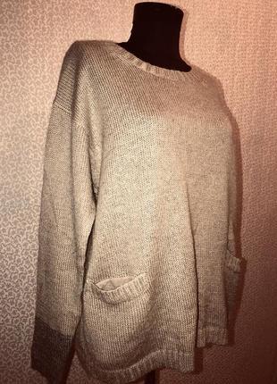 Натуральный тепленький свитер оверсайз с кармашками