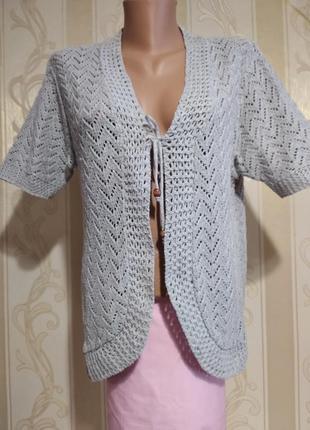 Летняя ажурная натуральная жилетка с коротким рукавом.