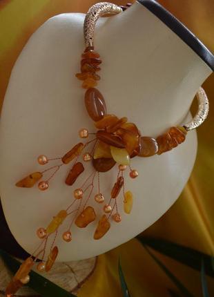 Авторское колье-чокер из янтаря и жемчуга ′цветок папоротника′