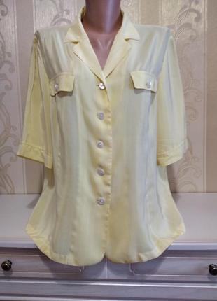 Шикарная блуза, жёлтая с белой полоской. 100% шёлк.