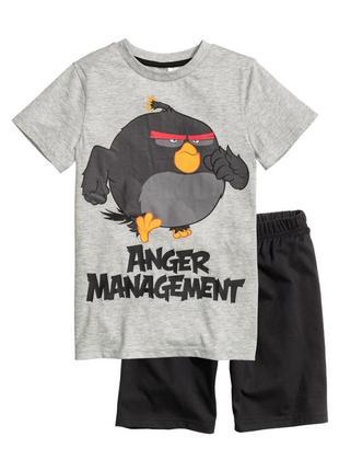 Хлопковая трикотажная футболка с надписью и принтом