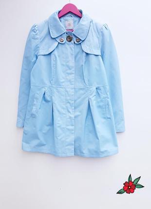 Нежно голубой тренчкот плащ тренч голубого цвета весенняя куртка ветровка от tu
