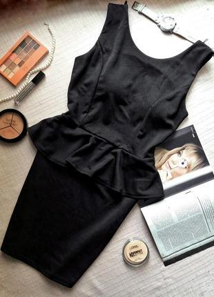 Черное платье с баской   официальное вечернее