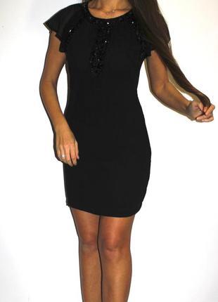Черное шифоновое платье - в камнях -- срочная уценка платьев --