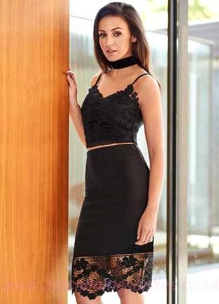 Шикарный черный костюм с кружевом юбка и топ