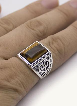 Шикарный мужской перстень с тигровым глазом 21 размер