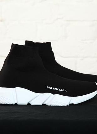 Шикарнейшие женские кроссовки чёрного цвета balenciaga speed socks black