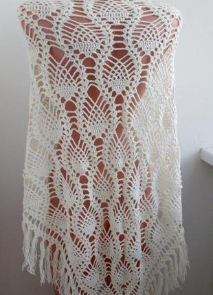 Красивая шаль , платок ручной работы в красивый узор !5 фото