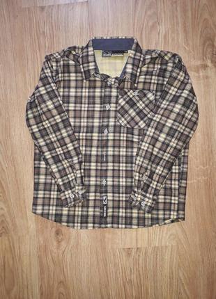 Стильная теплая рубашка на модника 8 лет