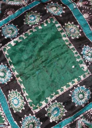 Платок шелковый, стильный принт, оригинальная вещь ручной работы
