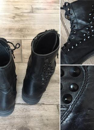 Немецкое качество! 39 р. стильные комфортные практичные кожаные ботинки с шипами