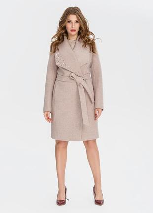 Скидка! кашемировое демисезонное пальто с бусинами 42-52р бежевое, серое, кэмел