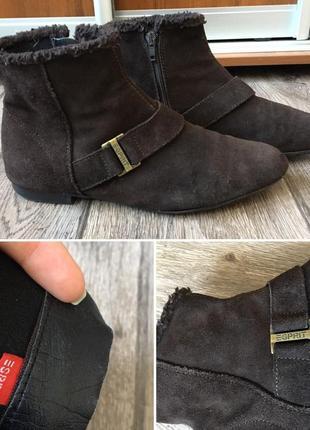 39 р. стильные комфортные замшевые ботинки esprit