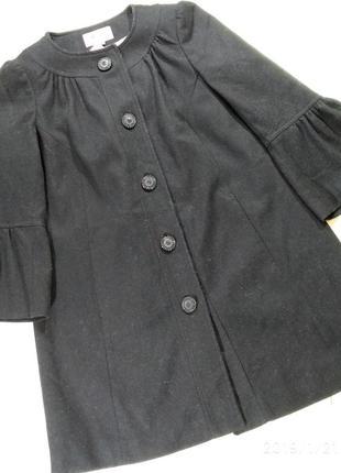Невероятное пальто трапеция с рукавами 3/4 с воранами