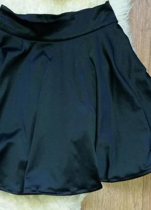 Юбка расклешенная черная3 фото