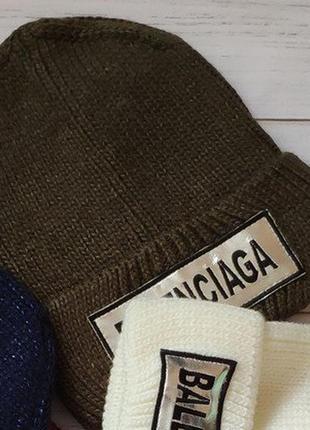 Прикольная шапка,вязка balenciaga  хаки