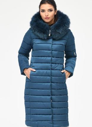 Зимняя женская удлиненная куртка x-woyz ls 8816 44, 48 размер