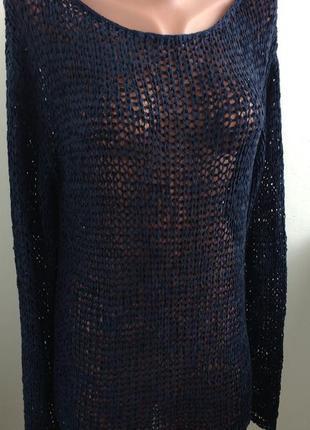 Р xl темно синий свитер с крупной ленточной пряжи !