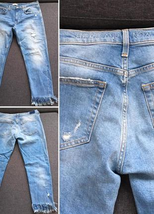 Слим. рваные мом-джинсы zara (mom jeans) (бойфренды) (bershka, zara, h&m, mango)