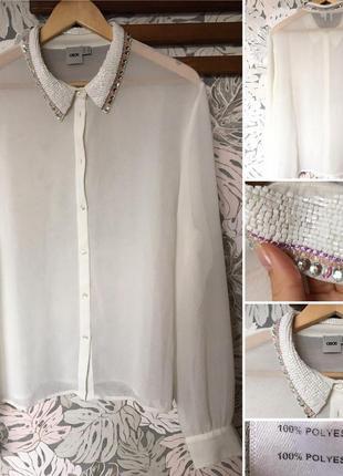 Шифоновая блуза сорочка рубашка с вышивкой asos большой размер