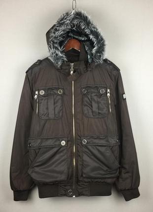 Мужская демисезонная куртка philipp plein коричневая италия