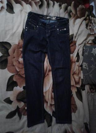 Актуальные синие джинсы- скини с молниями,xl.