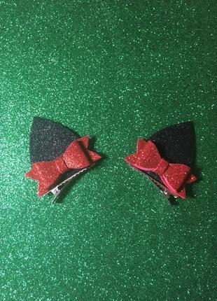 Чёрные красные блестящие ушки кошки на заколках с бантиками