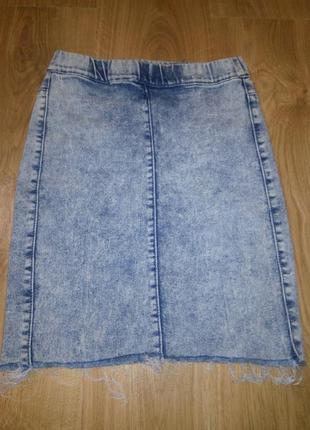 Юбка джинсовая вываренная