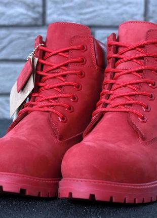 Женские красные зимние ботинки шерстяной мех