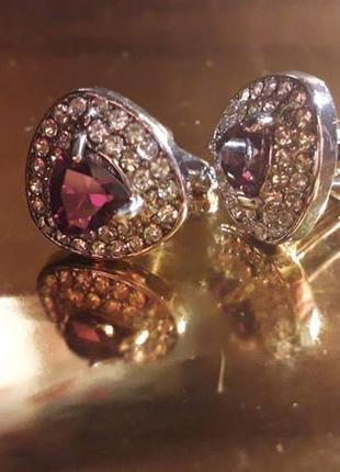 Запонки с фиолетовым камнем