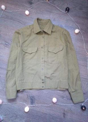 Бомбезная классическая рубашка милитари цвет хаки деловая с карманами