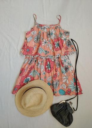 Яркое летнее платье с воланом /сарафан
