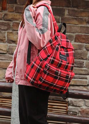 Рюкзак в клетку, школьный рюкзак, красный рюкзак в клеточку