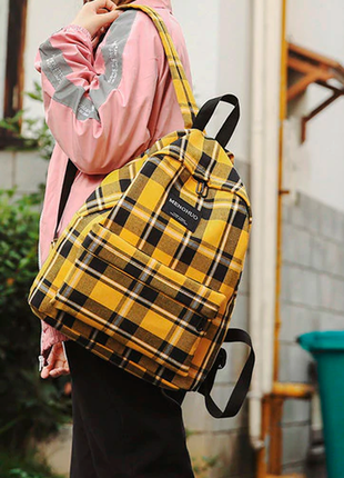 Рюкзак в клетку, школьный рюкзак, желтый рюкзак в клеточку
