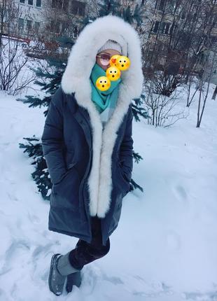 Парка зимняя мех пальто