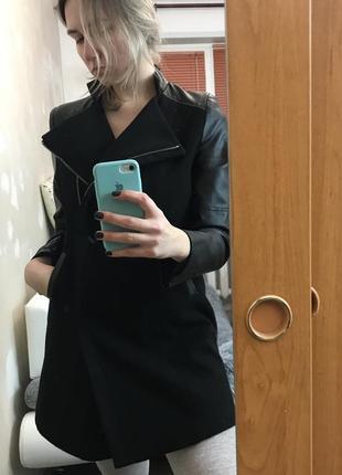 Крутое кашемировое демисезонное пальто косуха