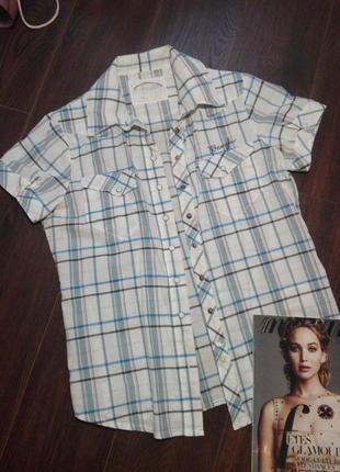 Рубашка женская летняя тонкая хлопок с модным принтом на кнопках 95 грн