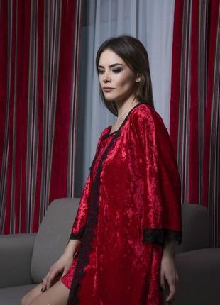 Велюровый комплект тройка халат и пижама