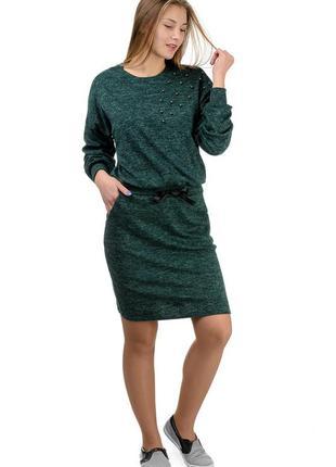 Платье трикотажное теплое, ангора-софт, женское, р-р 46-52
