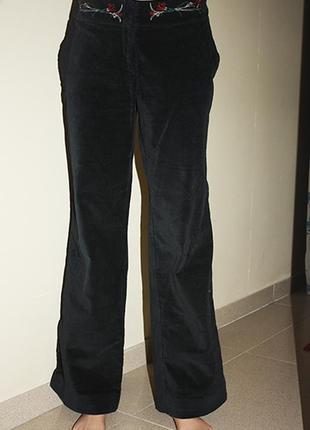 Брюки-стрейч бархатные с вышивкой, р.m