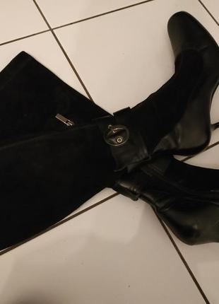 Сапоги - чулки натуральная кожа велюр кожаные
