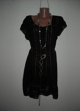Блузка-туника atmospfere черная с кружевом из шифон
