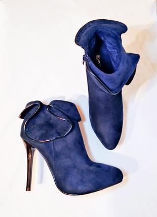 Нереально шикарные ботильоны/ботинки/полусапожки тёмно-синего цвета2