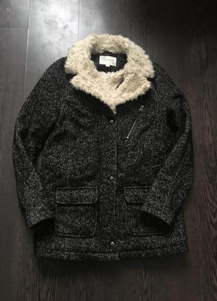 Крутое тёплое пальто косуха indigo