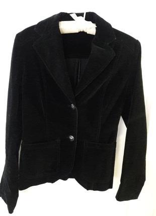 Велюровый жакет пиджак бархатный черный s