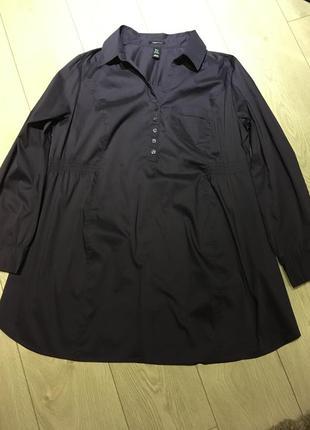 Фиолетовая рубашка туника для беременых h&m mama размер xl