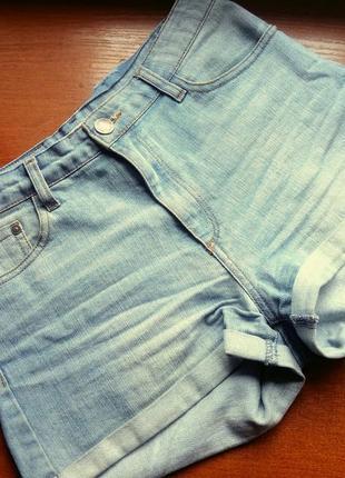 Шорты джинсовые  с высокой талией посадкой stradivarius denim
